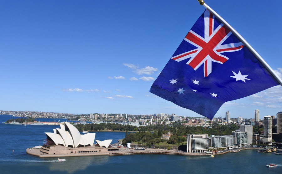 Australian flag flying over Sydney