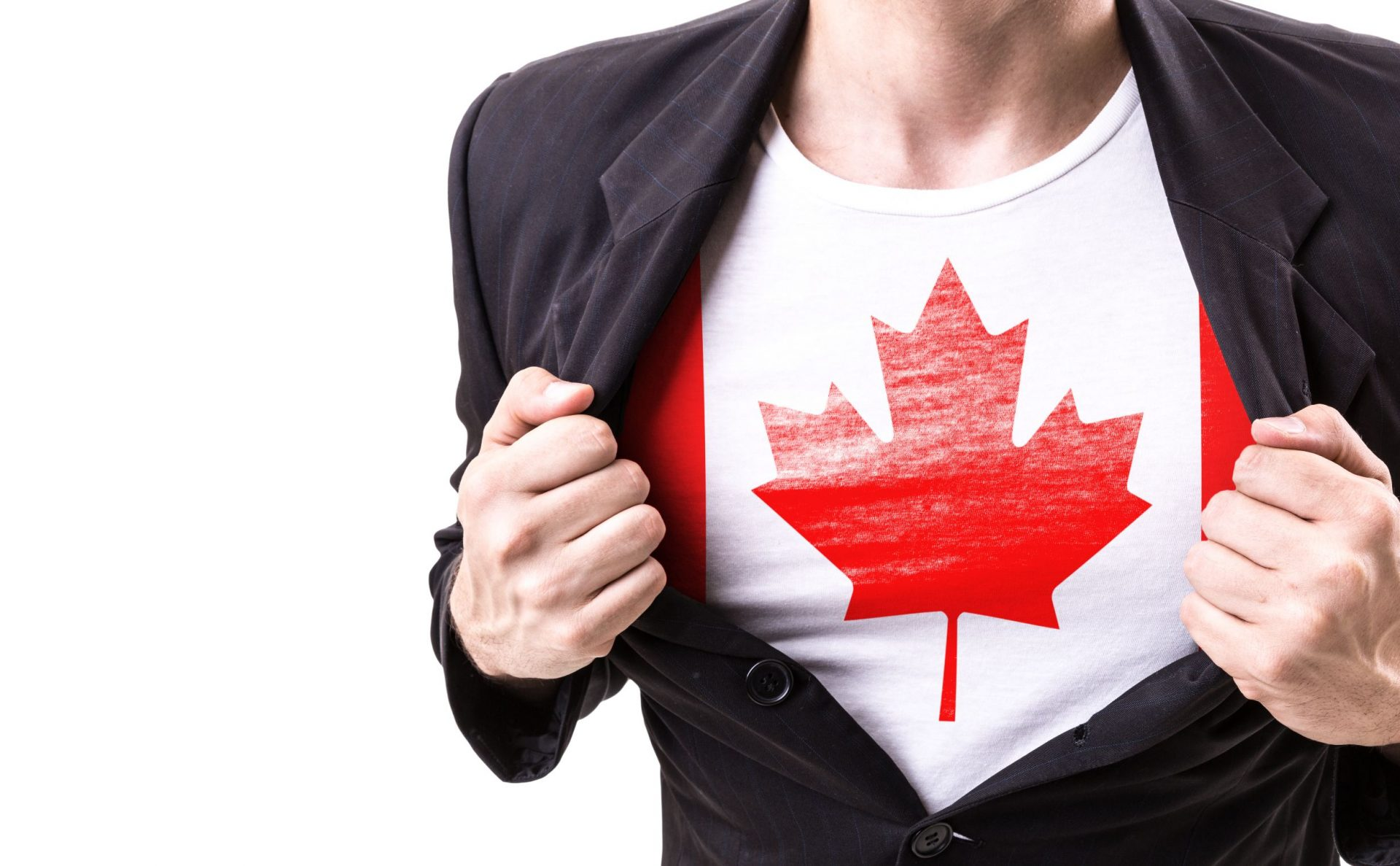 Becoming a canadian resident. Businessman stretching suit with Canada Flag