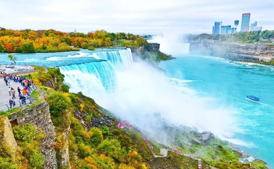 View of Niagara Falls from American side in autumn.