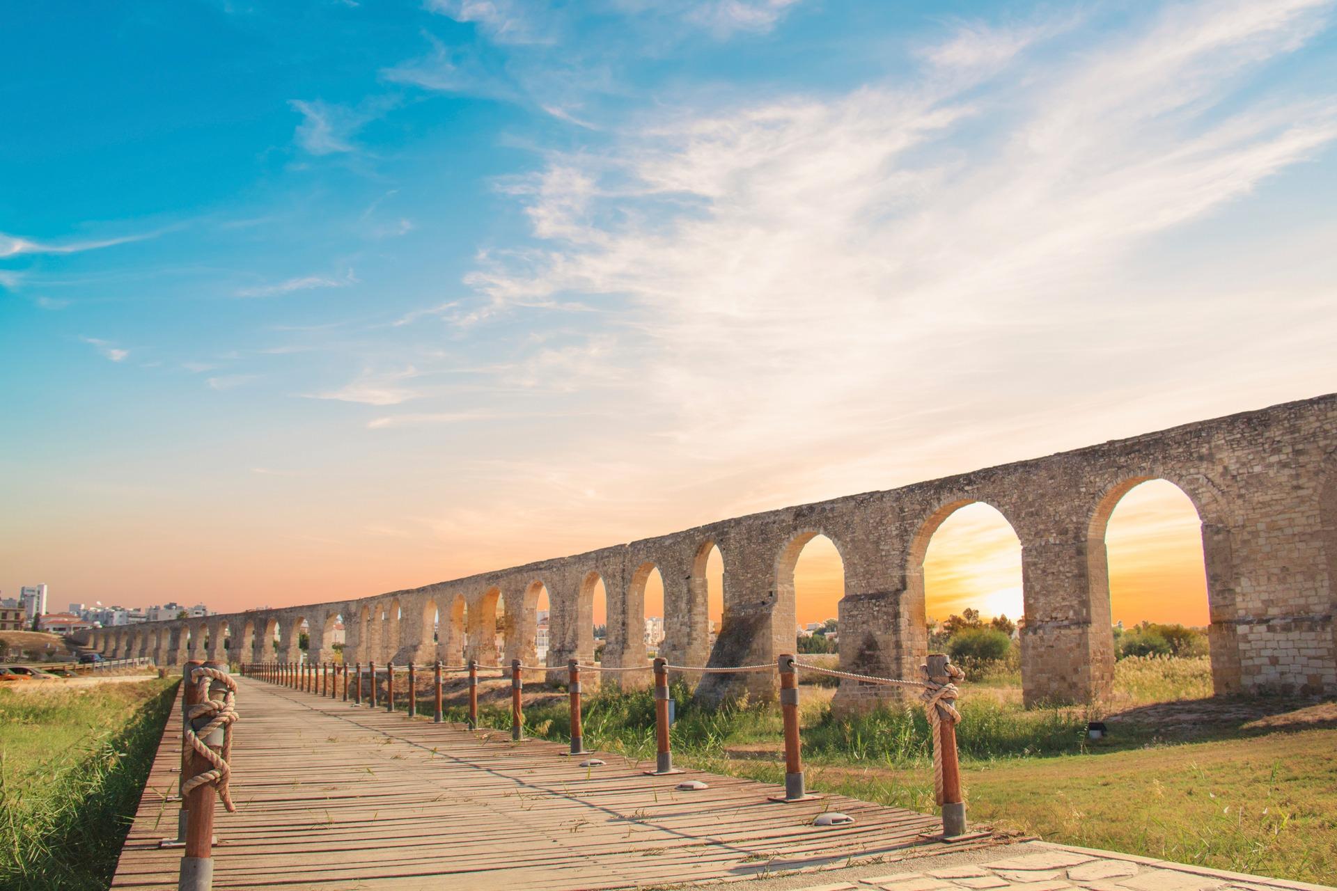 Kamares Aqueduct in Larnaca, Cyprus