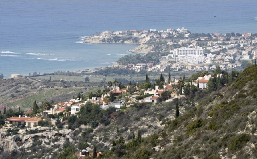 Peyia offers beautiful views down to the sea.