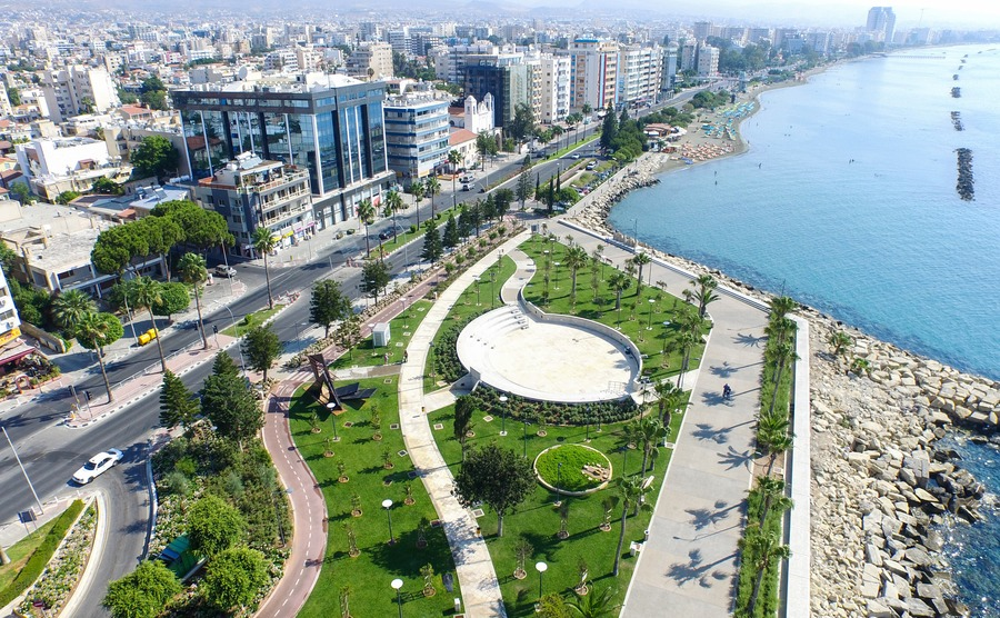 Promenade (molos) limassol Cyprus. Aerial photo of Limassol centre
