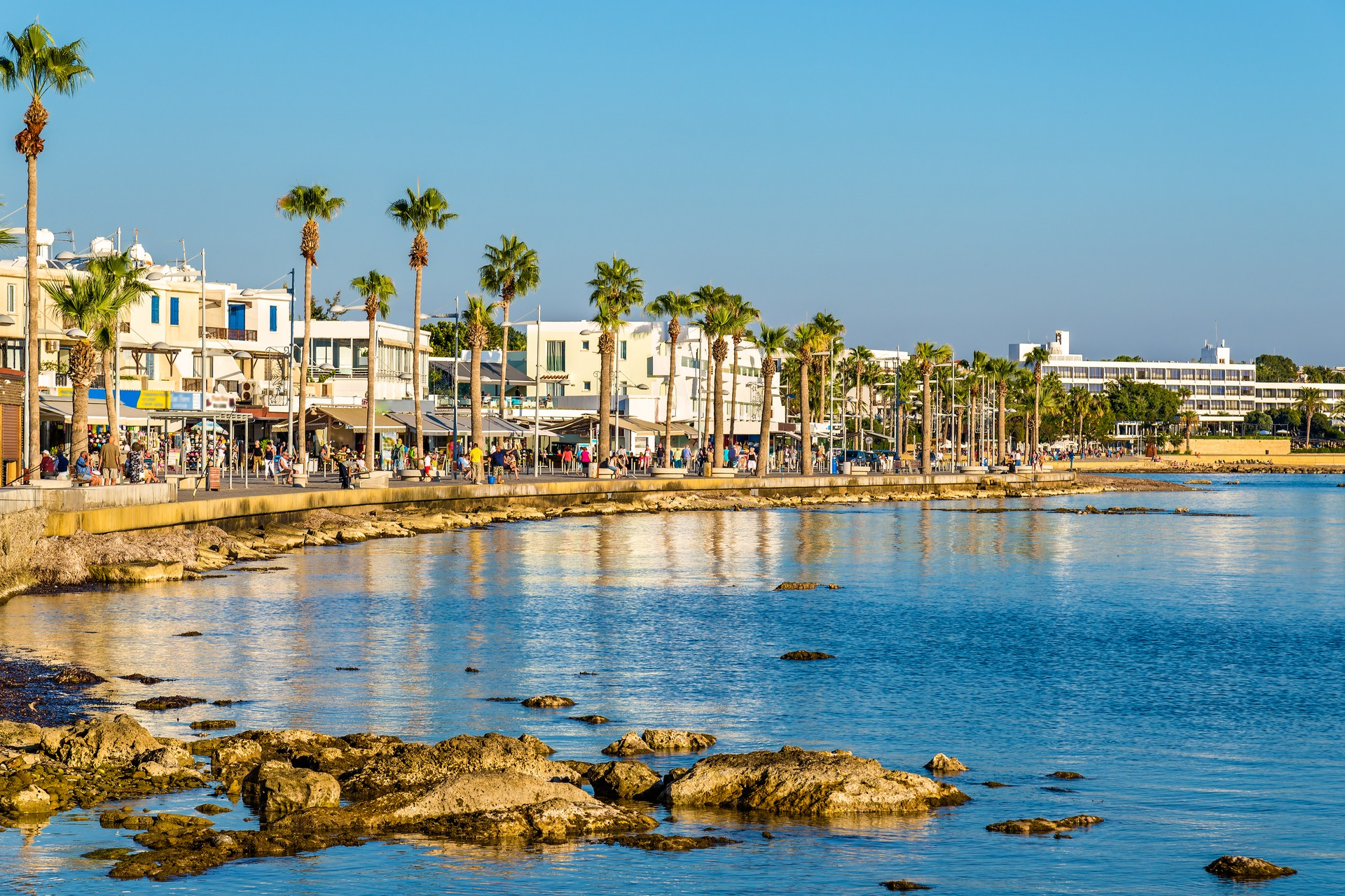 View of the Embankment at Paphos Harbour, Cyprus
