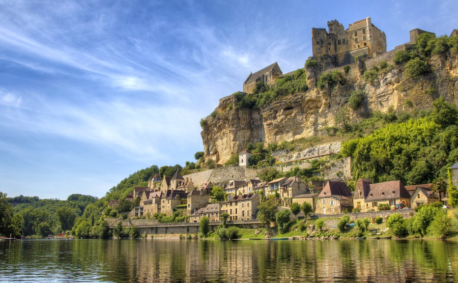 Approaching Beynac by Canoe on the River Dordogne