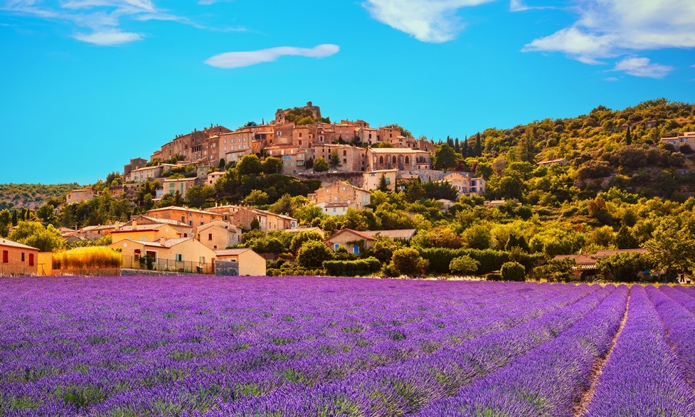 France - Property Market - Simiane la Rotonde village and lavender. Provence, France.