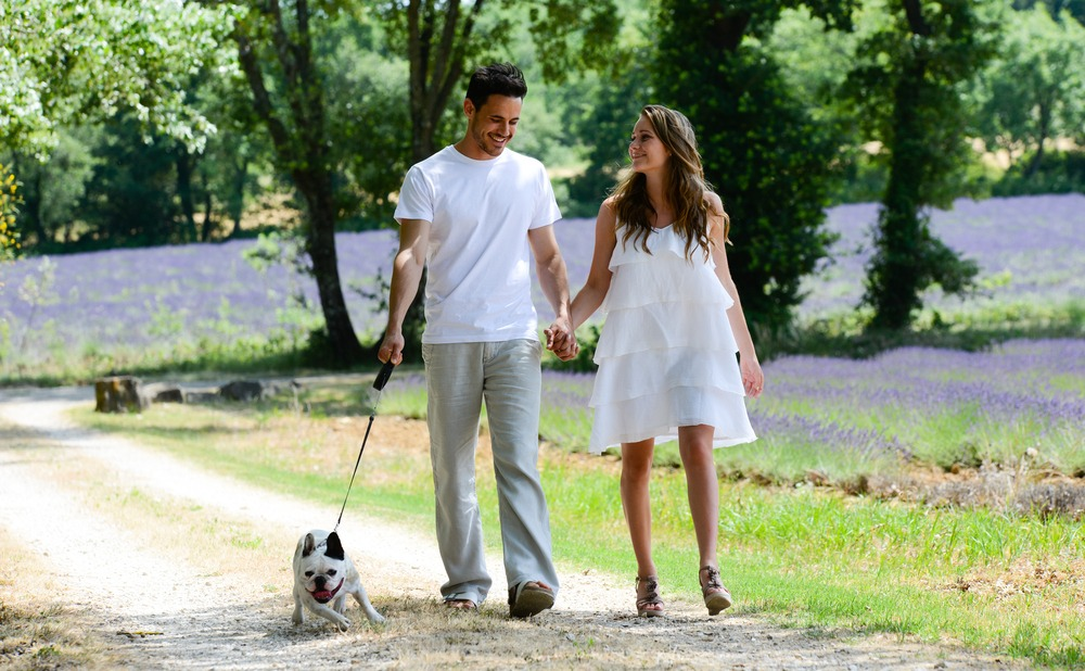 Romantic couple in France with dog