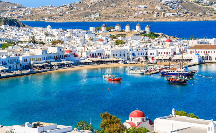 Mykonos combines a bustling nightlife with beautiful beaches and almost year-round sun.