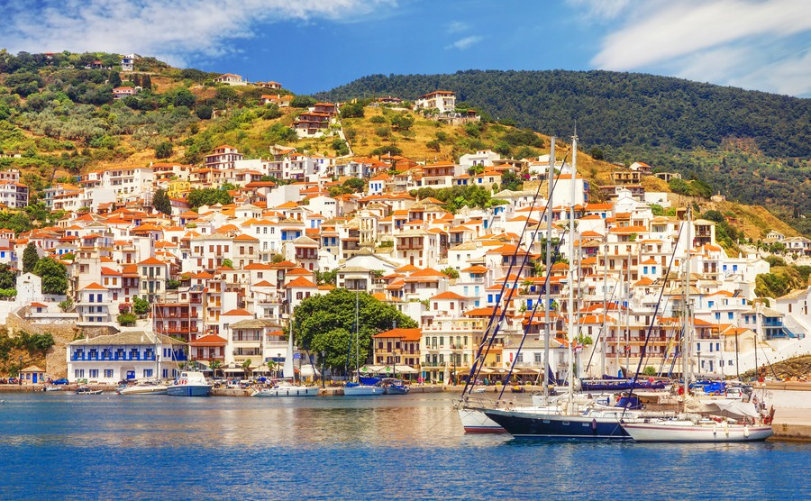Where to buy in Greece: Skopelos seen from the water