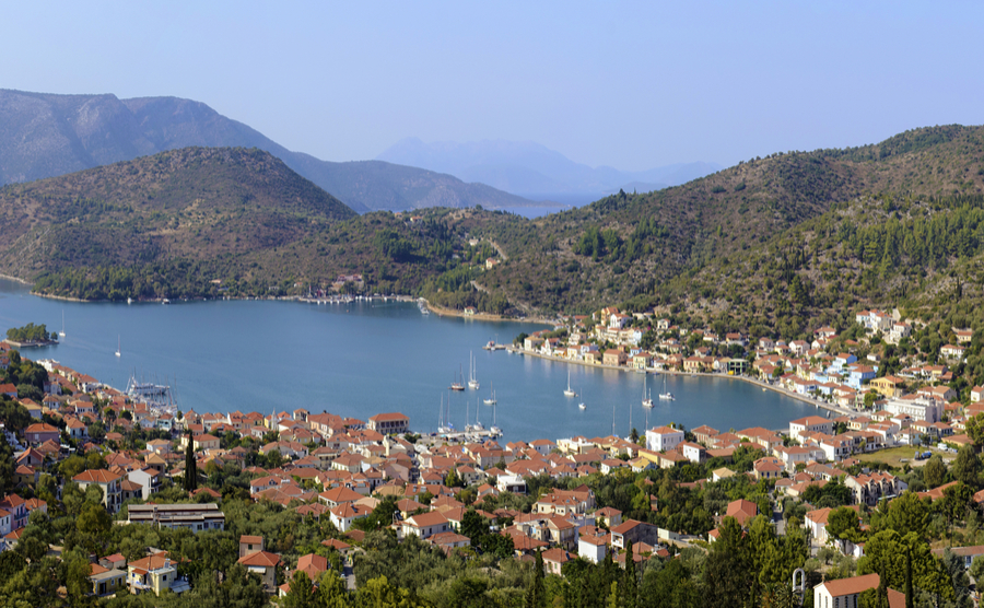 Vathi is the capital of Ithaca and has a great setting right on the coast | Where to buy property in Kefalonia.