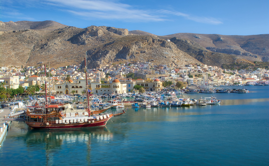 Deciding where to buy in Greece? Porthia in Kalymnos is one of the many beautiful islands in the Dodecanese.