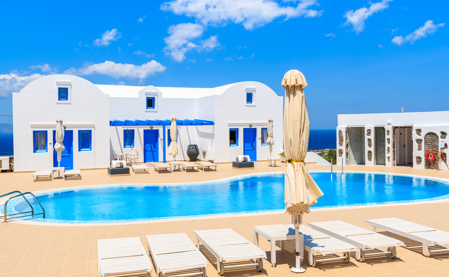Hotel complexes are one of the many touristic types of properties in Greece being sold off.