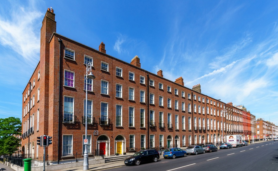 Mountjoy Square in Dublin is an excellent example of the Georgian types of property in Ireland.