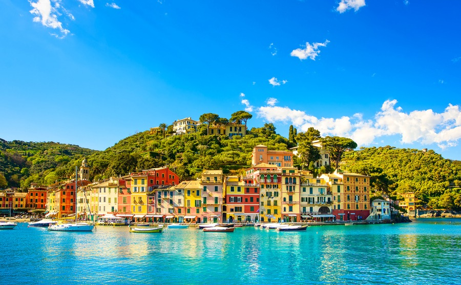 Portofino luxury landmark panorama. Village and yacht in little bay harbor. Liguria, Italy