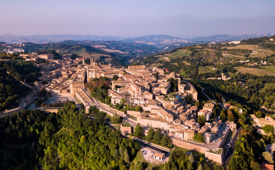 The historic centre of Urbino, in Marche.