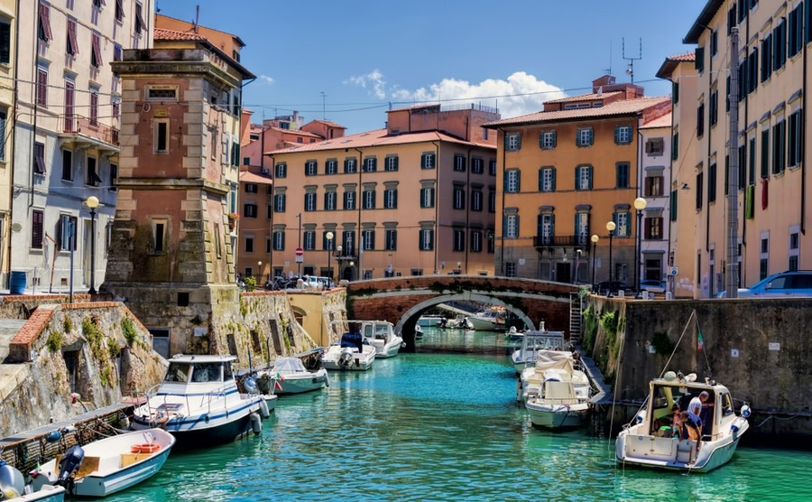 Venetian-style canal in Livorno. Where to buy in Tuscany