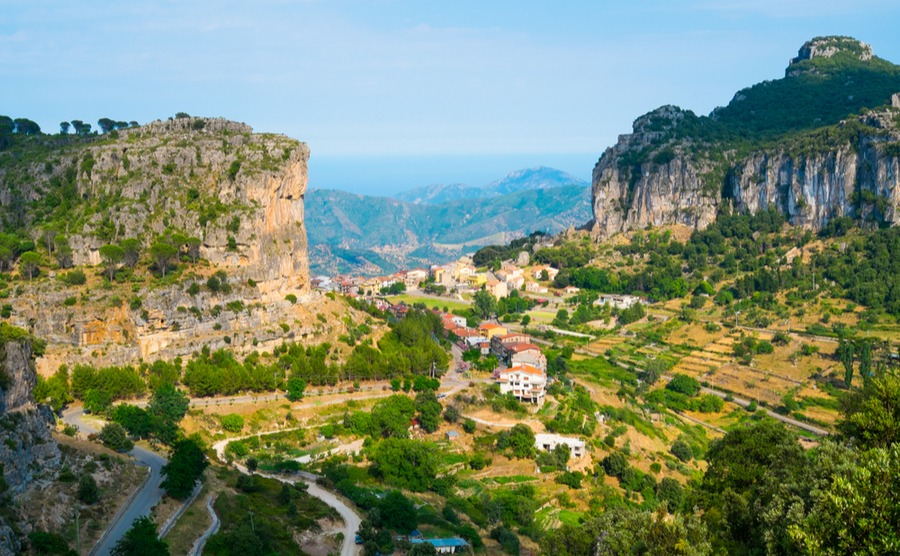 Ulassai village in inland Sardinia, Italy