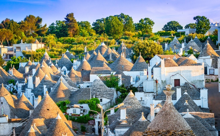 Alberobello is known for its beautiful trulli homes, an icon of Apulia.
