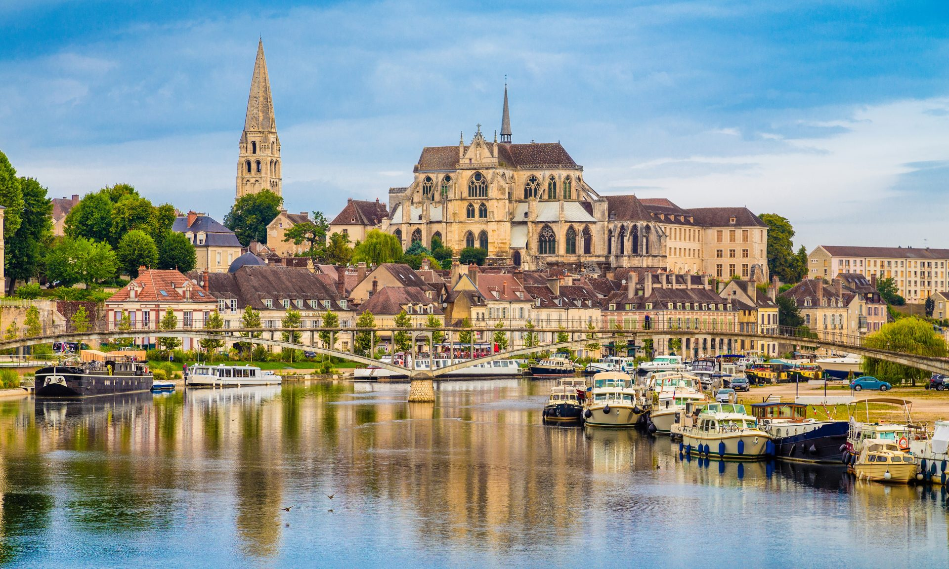 The historic town of Auxerre across the Yonne river in Burgundy