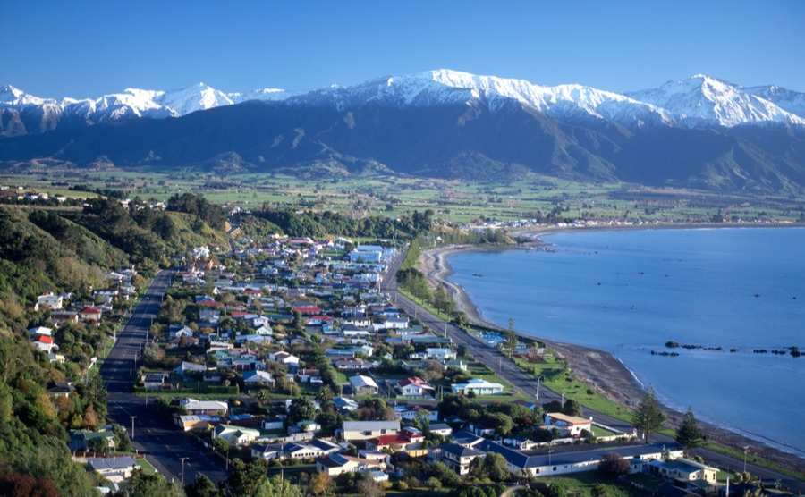 Kaikoura is a picturesque town on the east coast that's ideal for a winter holiday home in New Zealand.