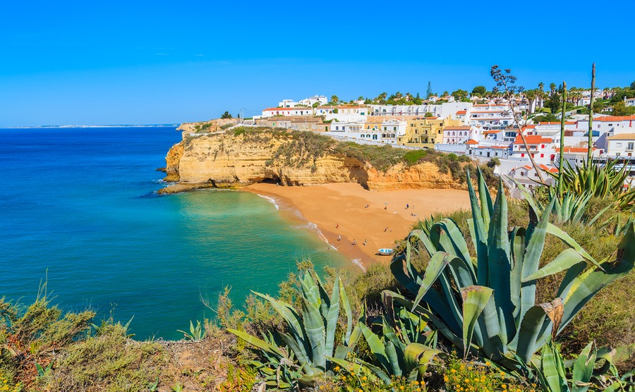 Carvoeiro beach, in the central Algarve