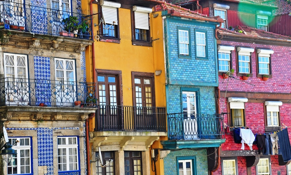 Portugal - Colorful houses facades of Oporto old town, Portugal