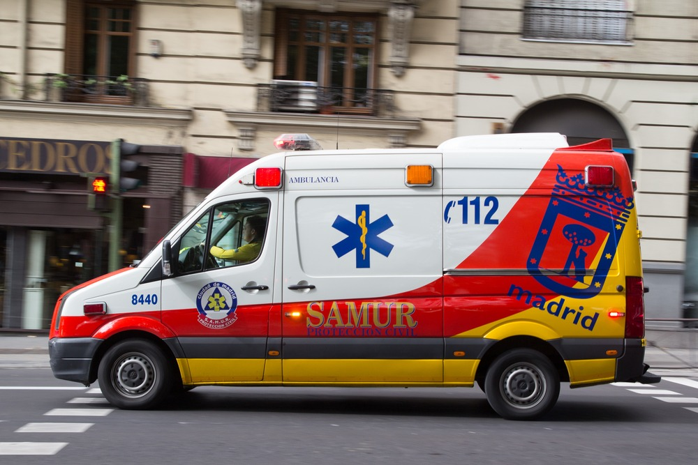 Ambulance in Madrid. Healthcare in Spain