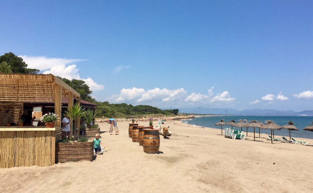 Beach bar below Sant Marti d'Empuries on the Costa Brava