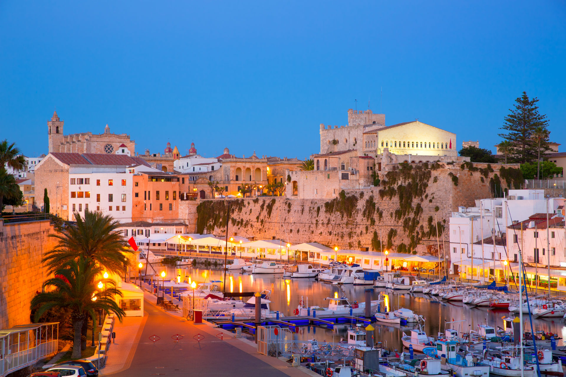 Ciutadella marina and cathedral, Menorca, Balearic islands, Spain
