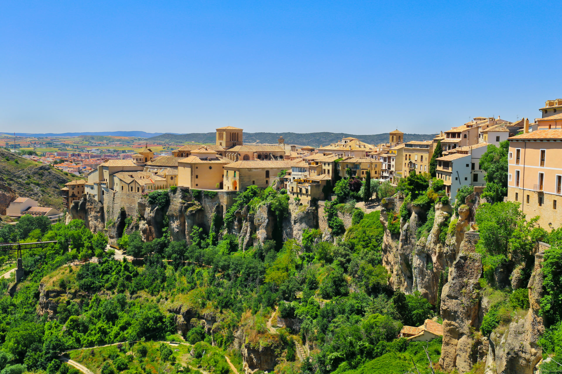 Cliffside houses in the historic, walled city of Cuenca, Castilla-La Mancha