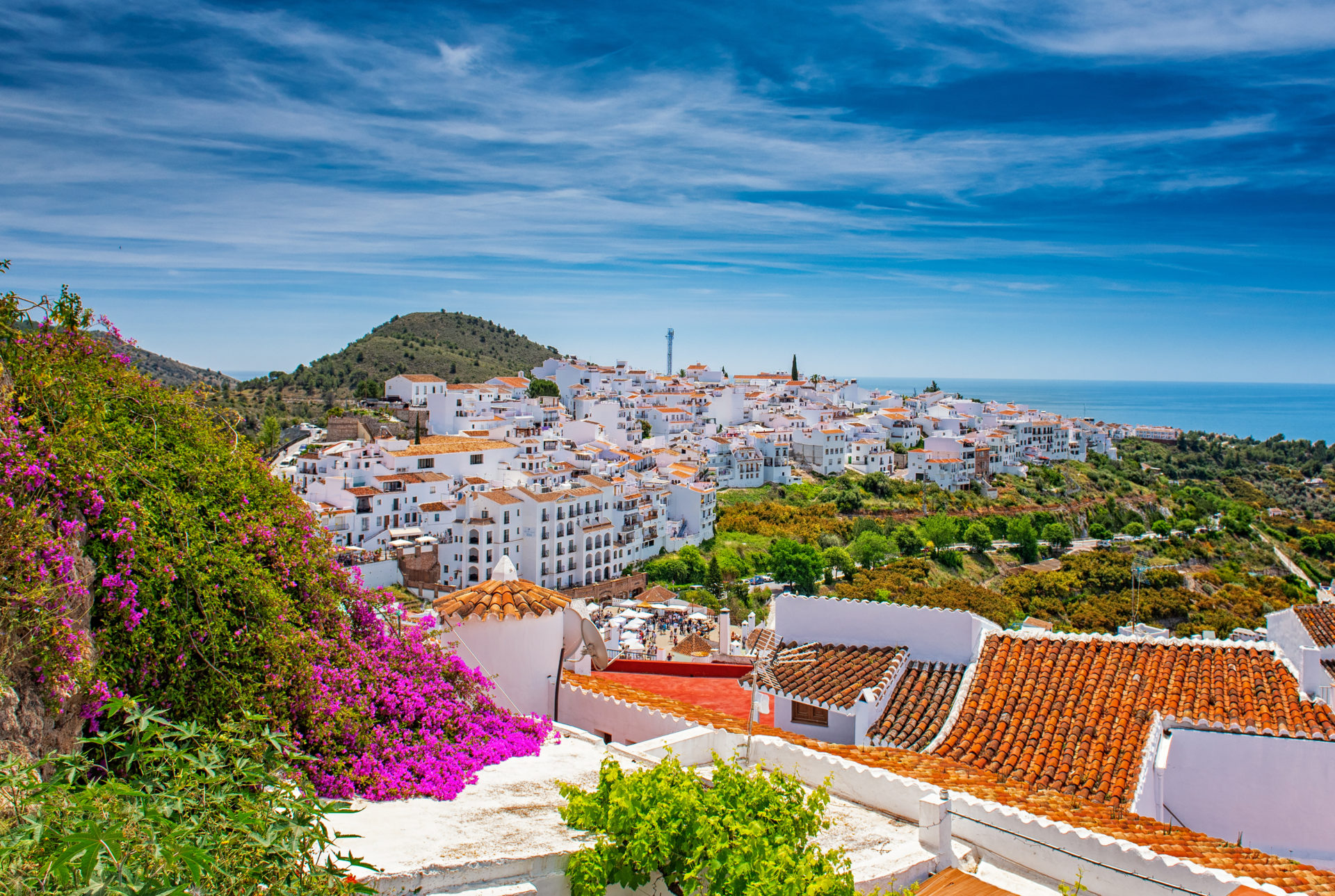Gleaming in the sunshine, houses in Frigiliana, Spain