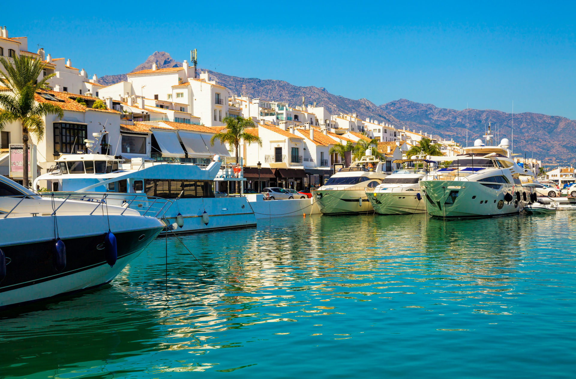 Luxury yachts in Puerto Banus Marina, Marbella, Spain