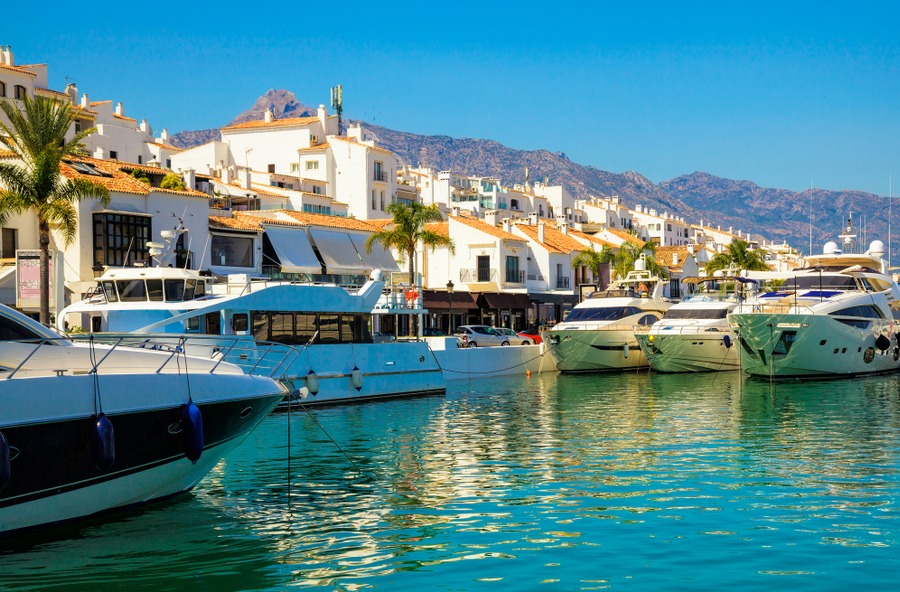 Luxury yachts in Puerto Banus Marina of Marbella, Spain.