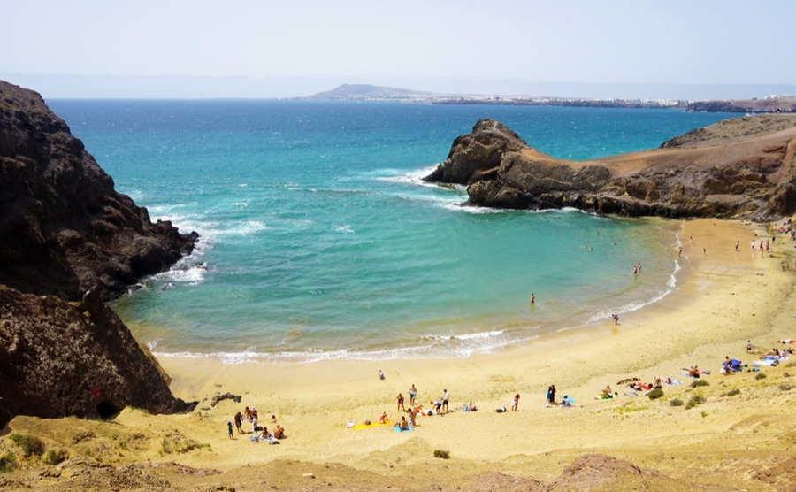 Playa Papagayo is one of Spain's best beaches – and one of the few beaches in Lanzarote with golden sand.