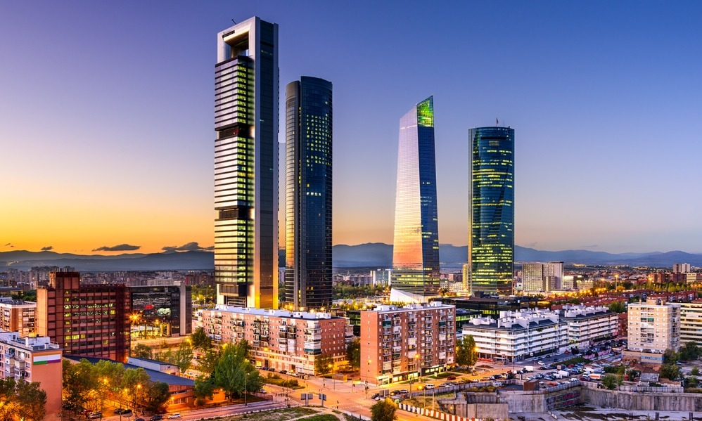 Spain - Madrid, Spain financial district skyline at twilight.