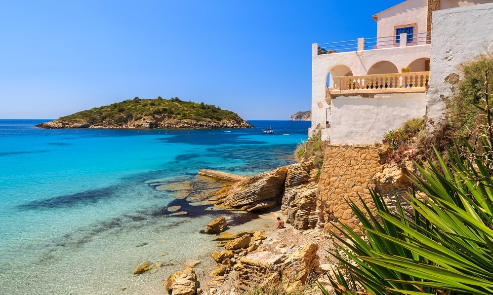 Spain - White holiday house, Sant Elm, Mallorca island, Spain