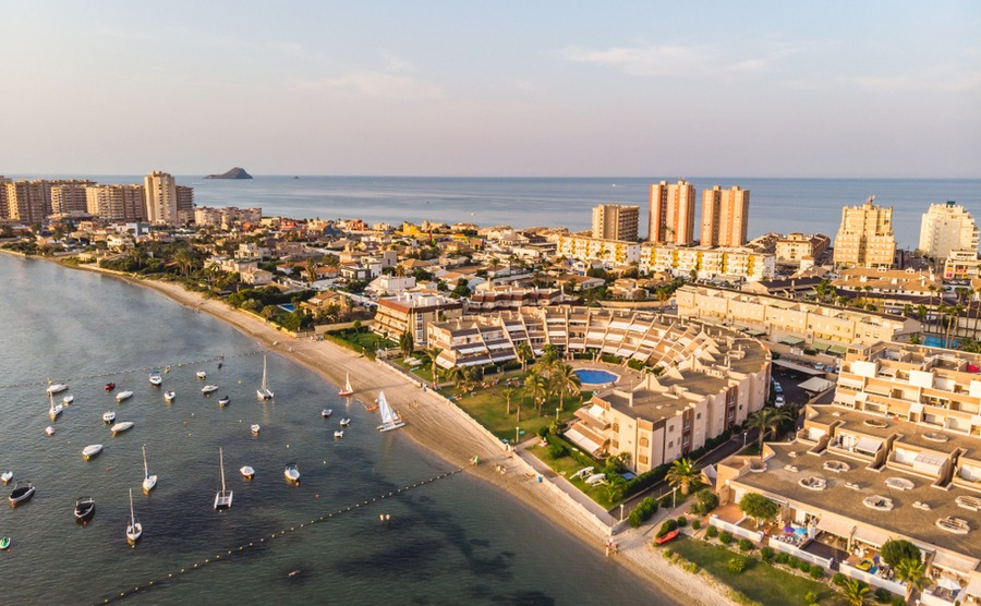 La Manga is one of the most famous parts of Murcia, separating the Mar Menor and the Mediterranean.