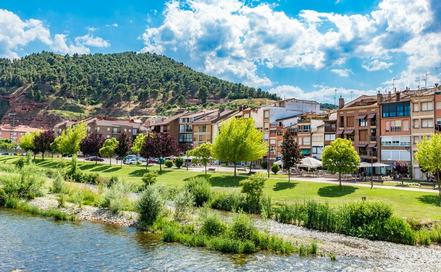 Attractive riverside homes in Najera, la Rioja, Spain