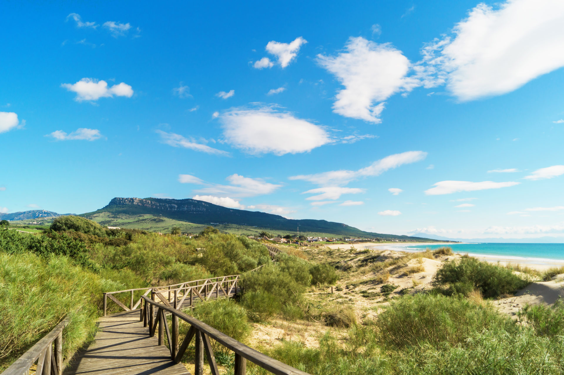 Wooden walkway in Bolonia beach, Tarifa, Andalusia, Spain