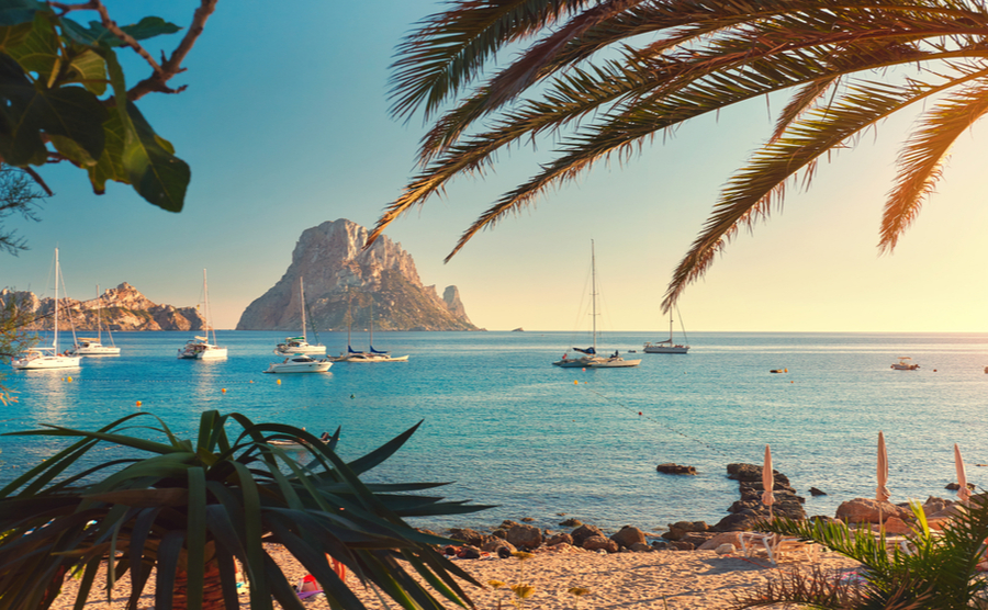 Famous, empty and beautiful Cala d'Hort beach