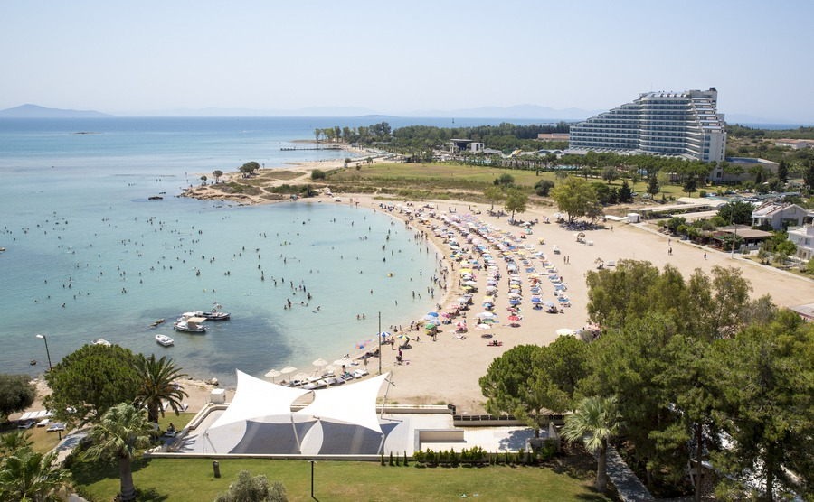 DIDIM ,TURKEY - JULY 16, 2017: Altinkum is a resort town in western Turkey, 123 km from Aydin. It is on the Aegean Sea, nearby the ancient Temple of Apollo and the ruins of the Ionian city of Didyma.