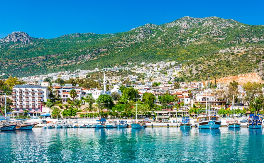 Kalkan, Antalya - May 15, 2015 : Kalkan Marina view from sea. Kalkan is a town on the Turkish Mediterranean coast, and an important tourist destination.