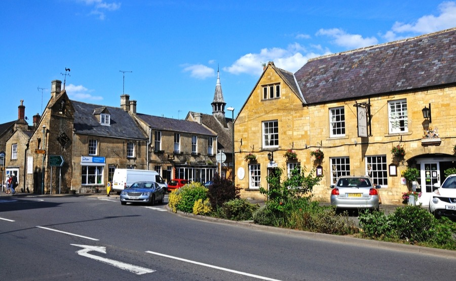 Moreton-in-Marsh has a busy high street with a number of independent shops. It's one of our best places to buy a house in the Cotswolds.