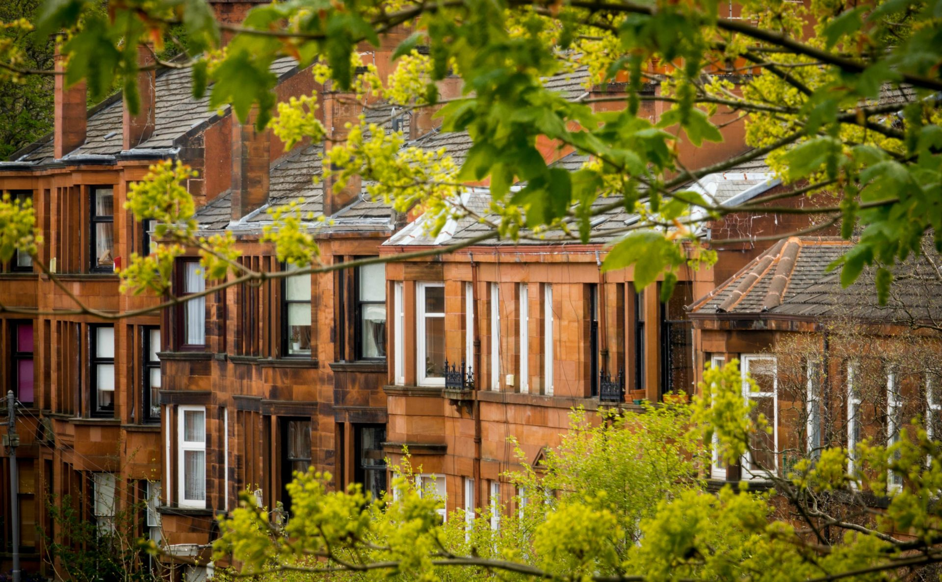 Sandstone terraces in Glasgow – a typical kind of property for those considering where to buy property in the UK