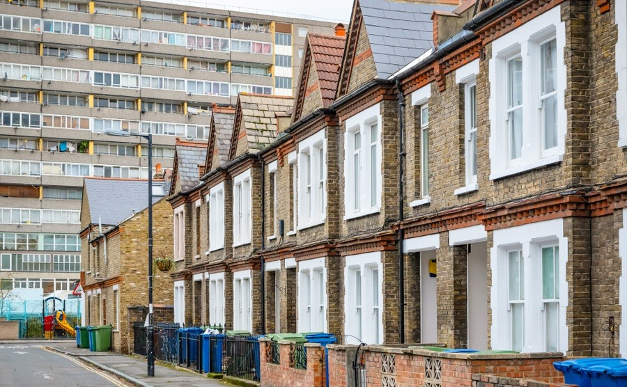 Terraced houses meet a block of flats in south-east London