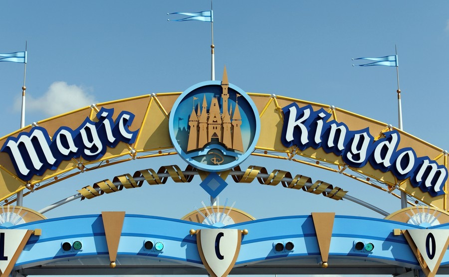 A sign marks the entrance to the Magic Kingdom section of Walt Disney World on April 18, 2013. Walt Disney World is the worlds most visited theme park.