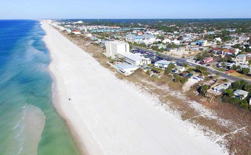 Aerial view of Panama City Beach, Florida.