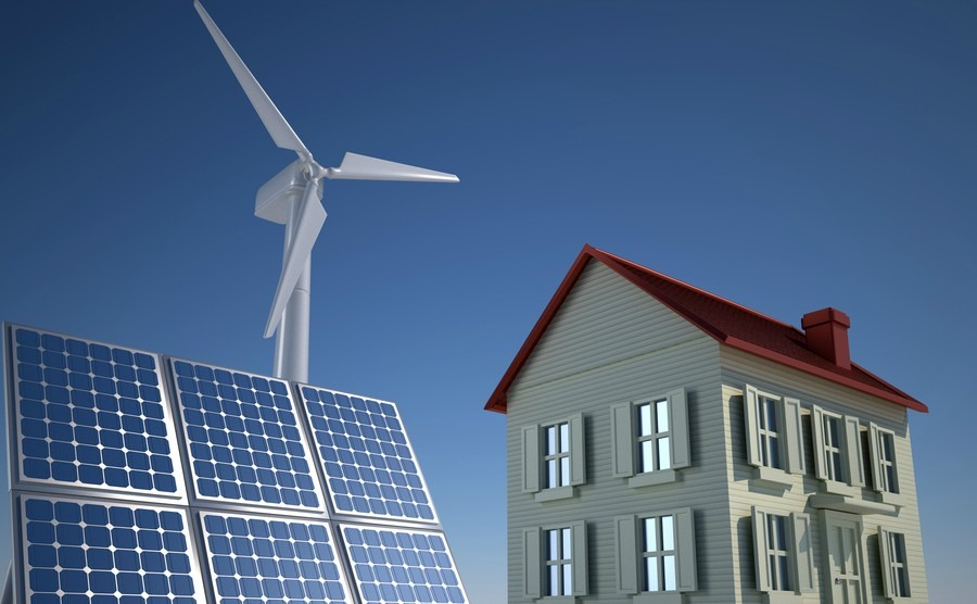 Solar panel and wind turbines on houses