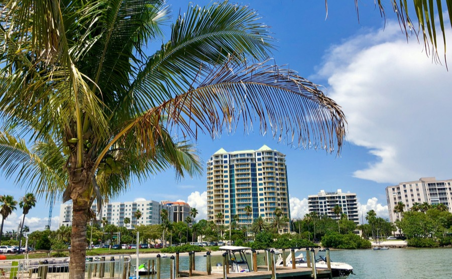 Sarasota Bay is surrounded by popular apartment blocks.