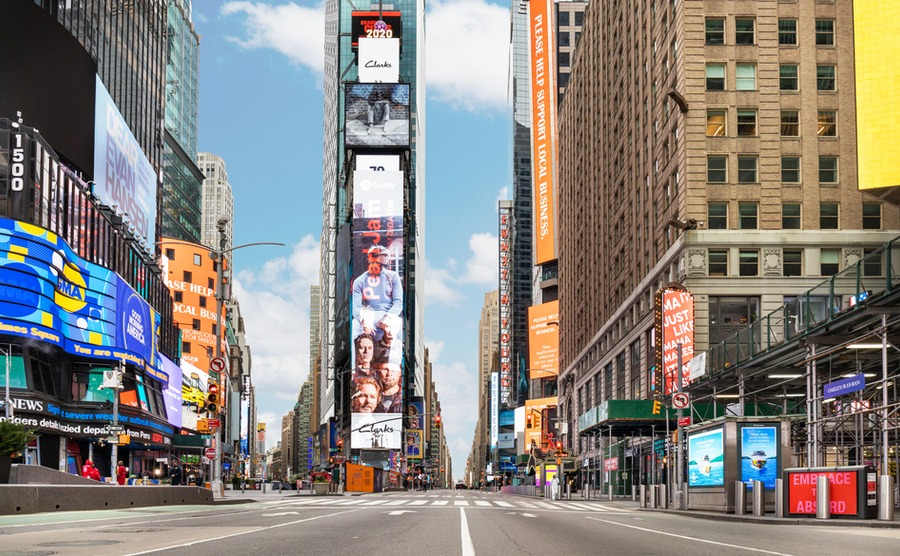 An empty Times Square in New York. haeryung stock images / Shutterstock.com